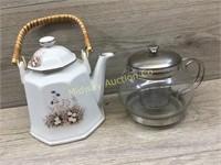 TEA BREWER POT AND WJITE TEAPOT