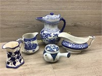 VARIOUS BLUE AND WHITE GLASSWARE/ SOME MARKED ENGL