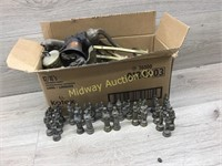 BOX OF BRASS BELLS AND HORSE STATUES/ BRASS CHESS