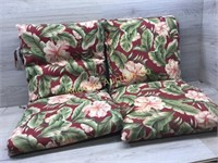 2 BURGUNDY FLORAL OUT DOOR CHAIR CUSHIONS