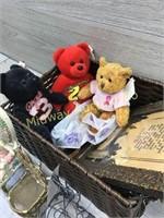 BASKET OF BEANIE BEARS/ DOLL FURNITURE
