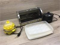 STEAINLESS BREAD BOX/ NINJA CHOC MELTER/ EGG TRAY