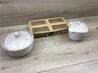 STONEWARE LAOF PAN/ COVERED BAKEWARE DISH W LID/ C
