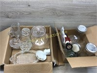2 BOXES OF GLASSWARE/ JARS/ SUGAR BOWLS/ CREAMERS/