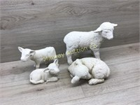 2 LAMBS /2 COW CERAMIC STATUES UNPAINTED