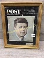 FRAMED SATURDAY EVE POST COVER WITH JOHN KENNEDY