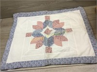 AFGHAN/ WHITE AND BLUE QUILT