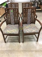 8 WOOD ARM CHAIRS WITH UPHOLSTERED SEATS AND CENTE