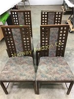 4 WOOD ARM CHAIRS WITH UPHOLSTERED SEATS AND CENTE