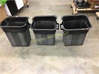 3 BLACK TRASH CANS