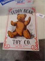 Teddy Bear Toy Company Tin Sign