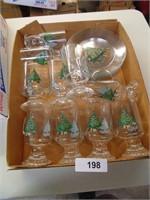 (10) Christmas Glasses & (8) Plates