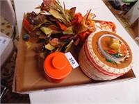 Fall Decor, Butter Keeper, Chip n Dip Server
