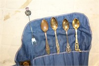 POUCH W/ VARIOUS SPOONS  & FORK