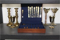 Silverware Set w/ Candle Stick Holders and Goblets