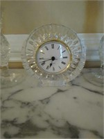 Lot of crystal candle holders and clock