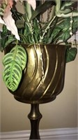 Beautiful brass plant holder with faux plant
