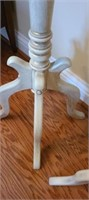 Pair of marble top wood tall tables