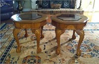 Pair of oak wood carved glass tables