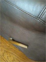 Leather like reclining love seat rockers AS IS