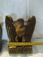 Pair of brass eagles