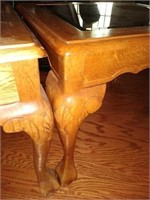 Oak carved wood side square tables with glass top