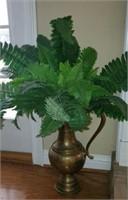 Large Decorative Brass Vase with Faux Plant