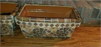 Pair of Mosaic Style Ceramic Planters
