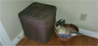 Estate Lot of Soft Stool & Basket
