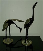 Pair of Black & Brass Crane Bird Decor