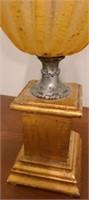 beautiful wood base blown glass lamp
