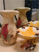 Lot of 2 beautiful bird decor pitcher and holder