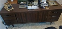 Large Brown Mid Century Modern Style Desk