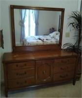 Century wooden dresser with mirror