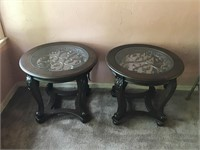 Pr. Contemporary Wood & Glass End Tables