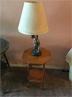 Parrot Lamp & Small Wood Table