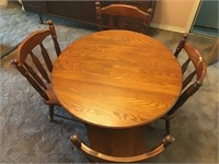 Oak Table & 4 Chairs Dinette Set