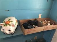 Ceramic Pig, 2 Box & Contents