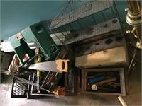 Misc Lot of Tools, Shelves, Crates