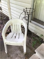 Plastic Chairs & Plant Stand