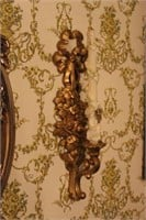 Large Framed Mirror And Two Candle Sconces