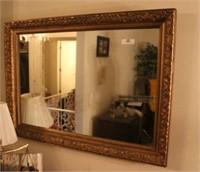 Vintage Wood-Framed Wall Mirror