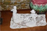 Two Clocks, Jardiniere, Two Figurines, & Misc