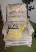 Upholstered Recliner And Pillows