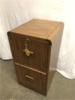 Wooden 2 Drawer File Cabinet with key