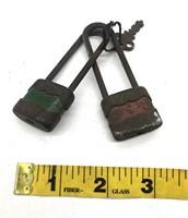 2-Vintage Locks with one Key