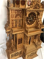 "Beautiful hand made wood clock-50"" tall and has a"