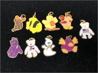 Nine beanie baby charms