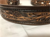 2 leather tooled belts for buckles