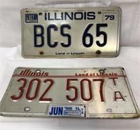 2 Illinois License plates-1979 & 1996